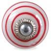 Bouton de Meuble Blanc Spirale Rouge