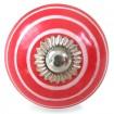 Bouton de Meuble Rouge Spirale Blanche