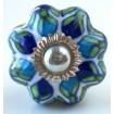 Bouton de Meuble Fleuri Blanc et Bleu