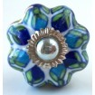 White and Blue Flowered Pumpkin Knob
