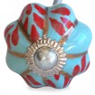Aqua and Red Flower Pumpkin Knob