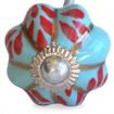 Bouton de Meuble Uni Citrouille Aqua Fleur Rouge