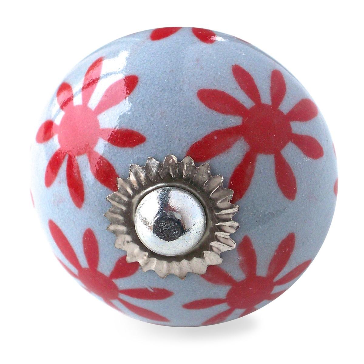 bouton de meuble marguerite gris et rouge vintage 2 90 gr3. Black Bedroom Furniture Sets. Home Design Ideas