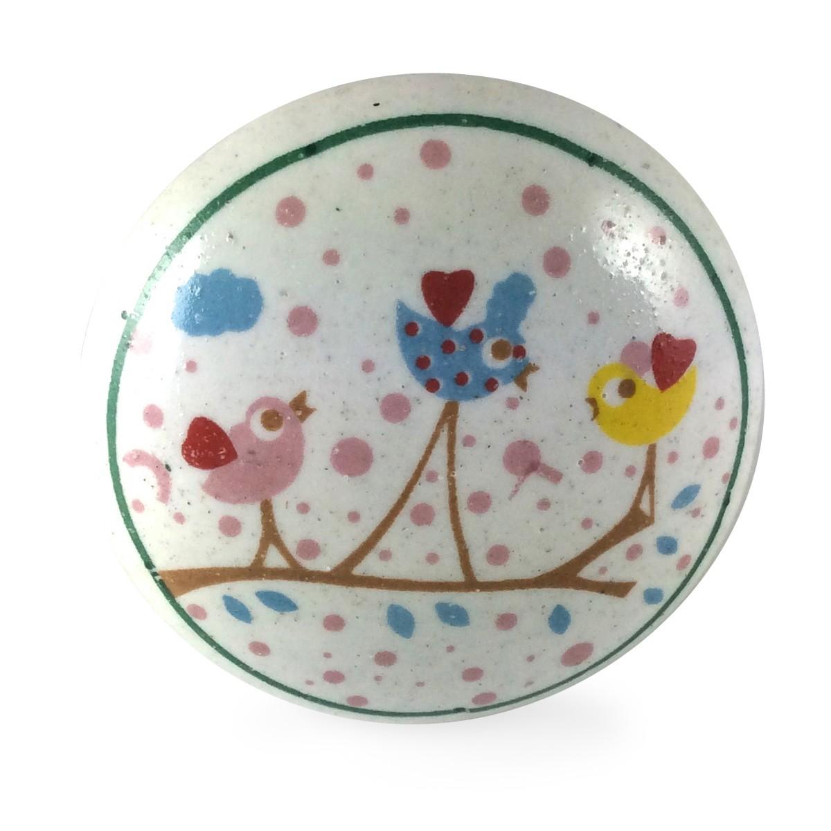 bouton de meuble trois oiseaux enchant s chambre d enfant 3 50 be17. Black Bedroom Furniture Sets. Home Design Ideas