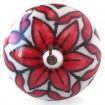 Bouton de Meuble Fleur Blanc et Rouge