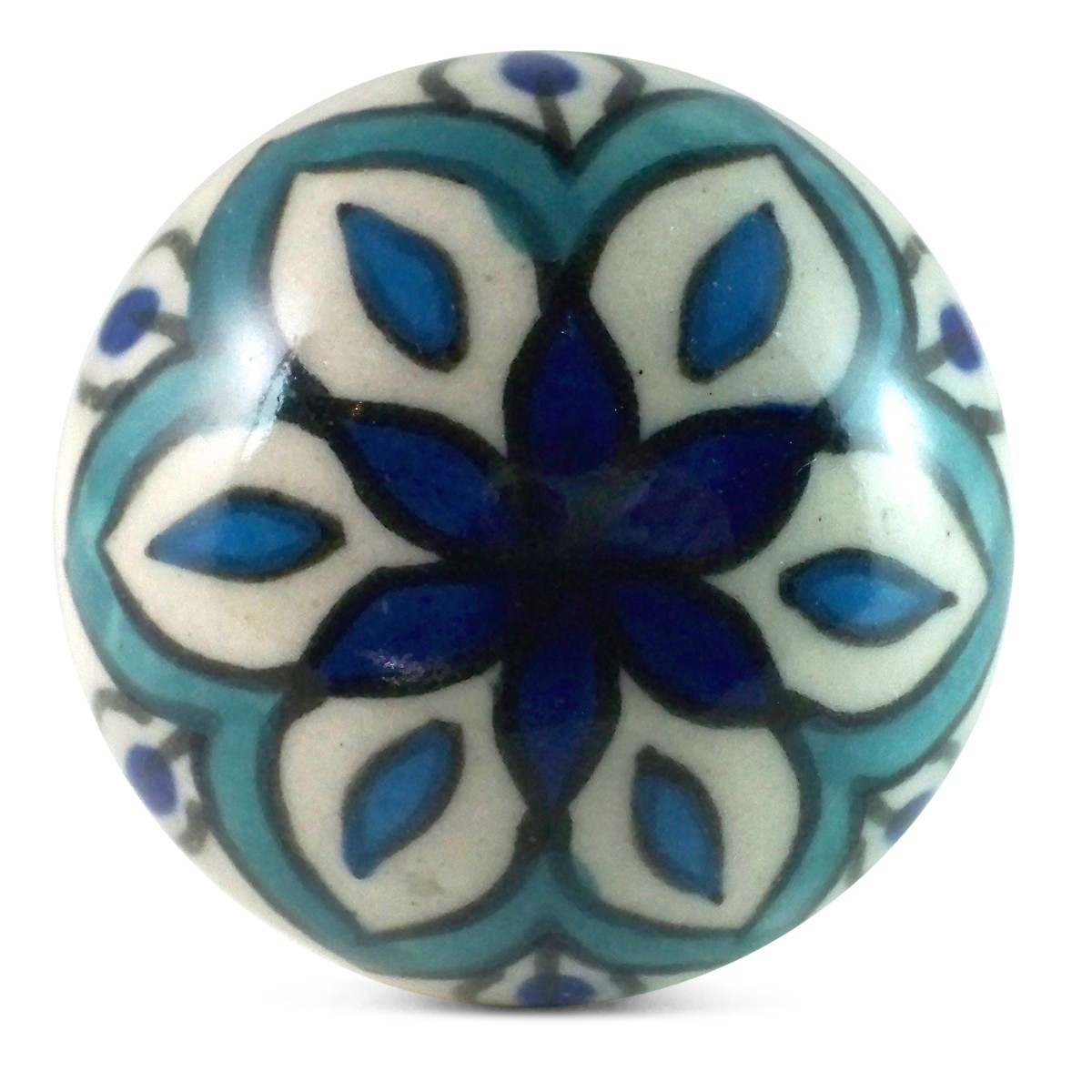 Bouton De Meuble Sherazade Bleu Et Turquoise Carreau Ciment