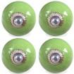 Lot de 4 boutons de meuble craquelé vert