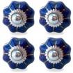 Lot de 4 Boutons de Meuble Uni Bleu Marine