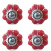 Lot de 4 Boutons de Meuble Uni Rouge