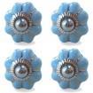 Lot de 4 Boutons de Meuble Uni Bleu Ciel