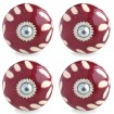 Set of 4 Burgundy and Cream Garland Knobs