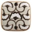 Bouton de Meuble Porcelaine Art Déco Crème et Noir