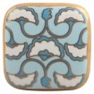 Bouton de Meuble Porcelaine Art Déco Turquoise et Noir