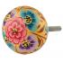 bouton de meuble fleur jaune et bleu - boutonsdemeubles.com